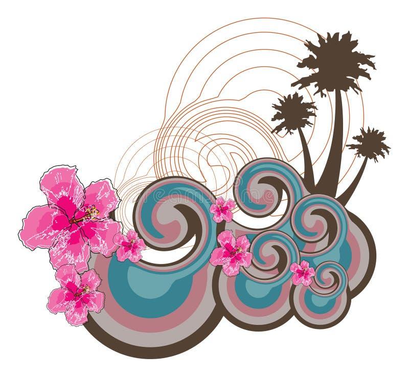 Ondas retros e hibiscus cor-de-rosa ilustração royalty free