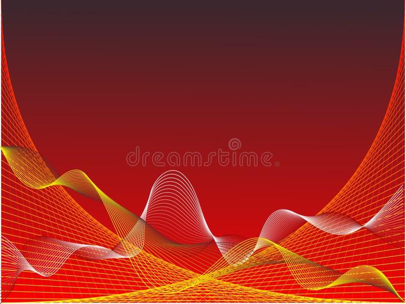 Ondas rojas y amarillas abstractas ilustración del vector