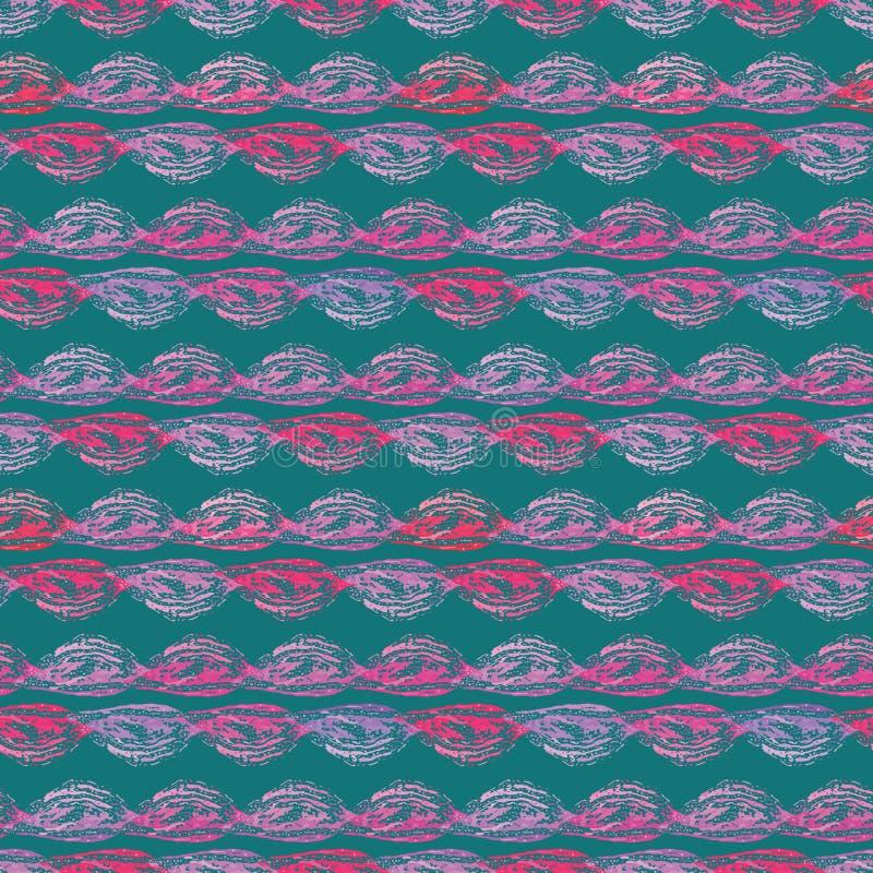 Ondas roxas e cor-de-rosa abstratas vibrantes no projeto listrando horizontal Teste padrão geométrico sem emenda do vetor na cerc ilustração do vetor