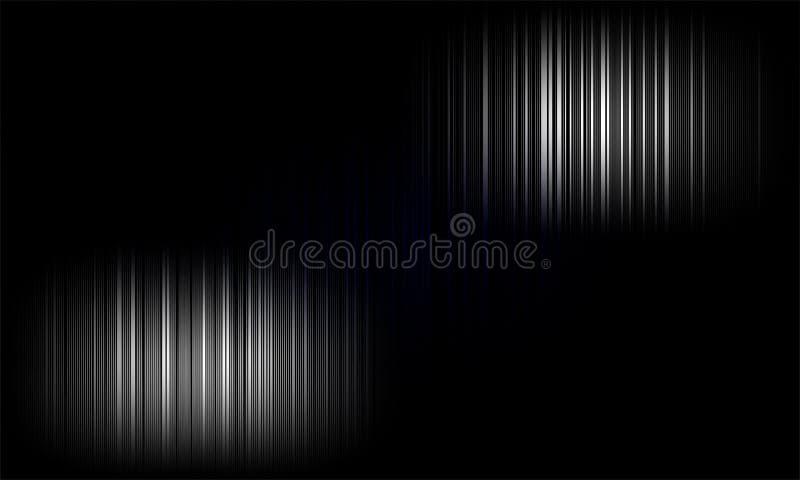 ondas sadias audio do equalizador digital no fundo preto, sinal do efeito de som estéreo ilustração stock