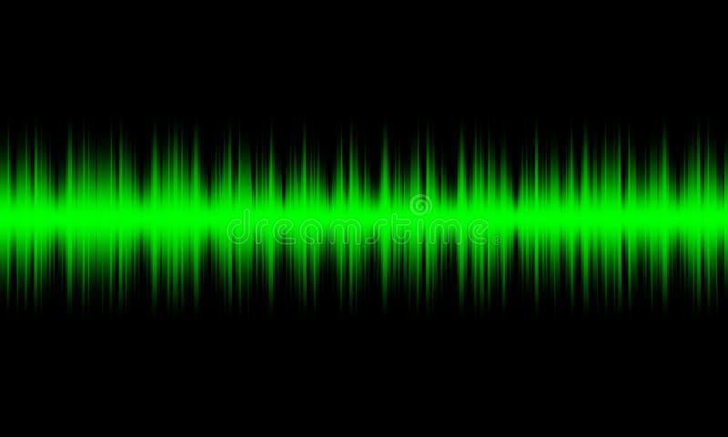 Ondas sadias audio do equalizador digital verde no fundo preto, ilustração do vetor