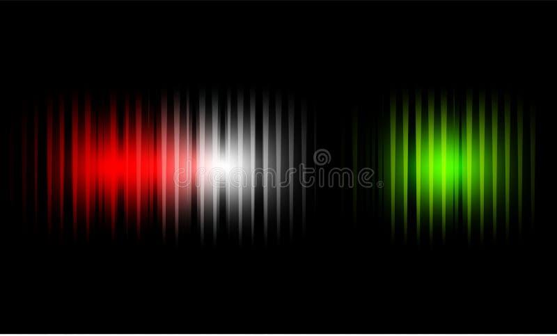 Ondas sadias da cor clara em um fundo escuro Fundo para o r?dio, clube, partido Vibra??o da luz Flash brilhante da luz ilustração stock