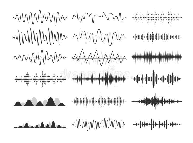 Ondas sadias musicais pretas Frequências audio, impulsos musicais, sinais de rádio eletrônicos ilustração stock