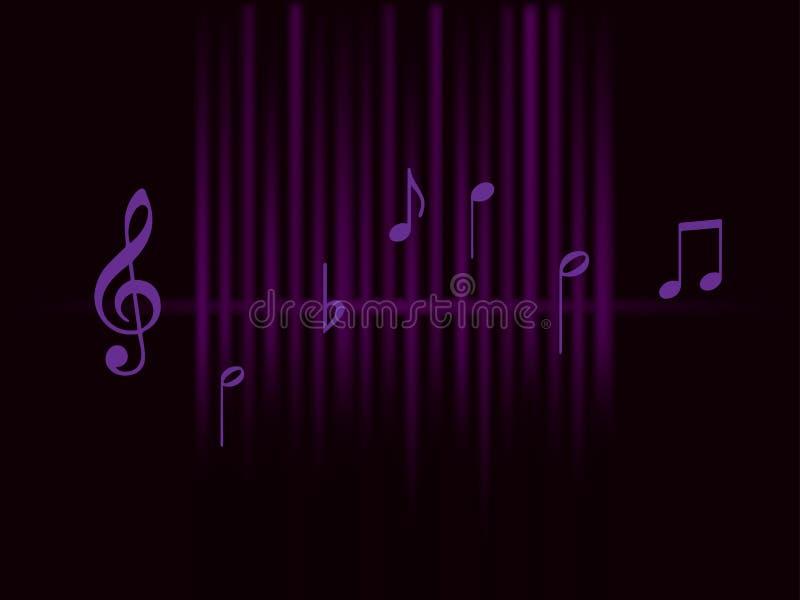 Ondas sadias roxas e notas de música de fundo isoladas no fundo escuro ilustração do vetor