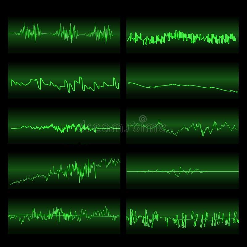 Ondas sadias verdes ajustadas Tela do equalizador ilustração royalty free