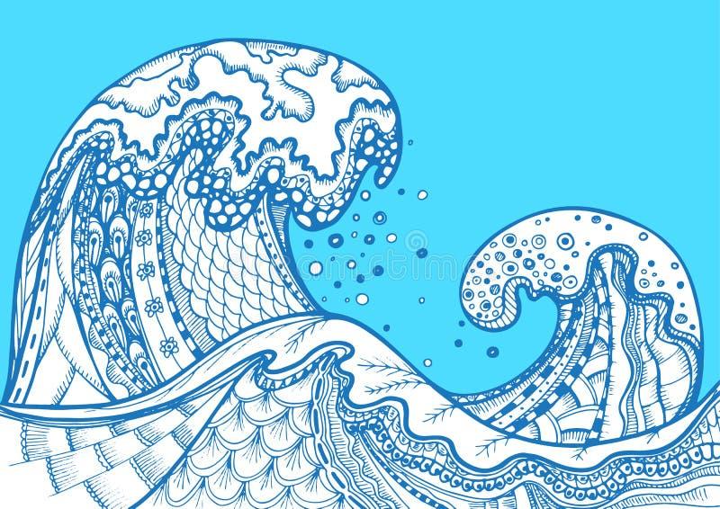 Ondas tiradas mão do mar do vetor da garatuja de Zentangle ilustração stock