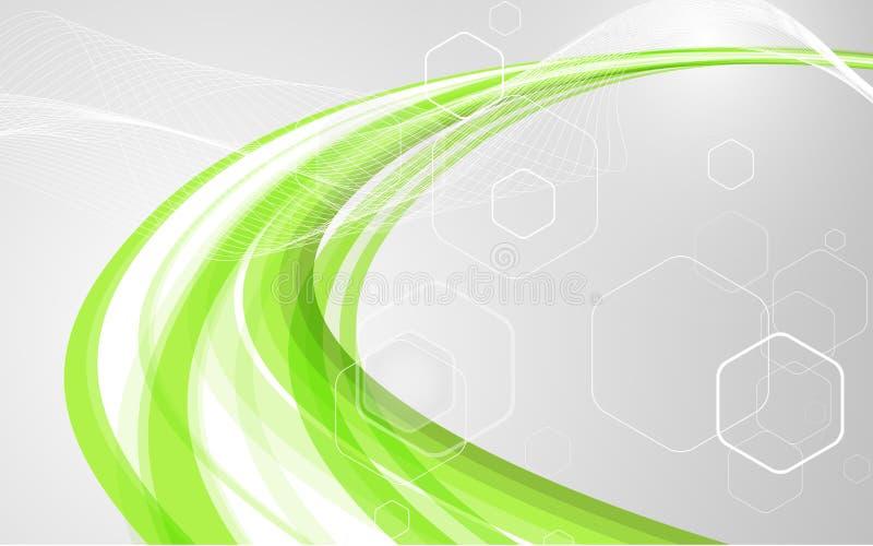 Ondas verdes abstratas - conceito do córrego de dados Ilustração do vetor ilustração stock
