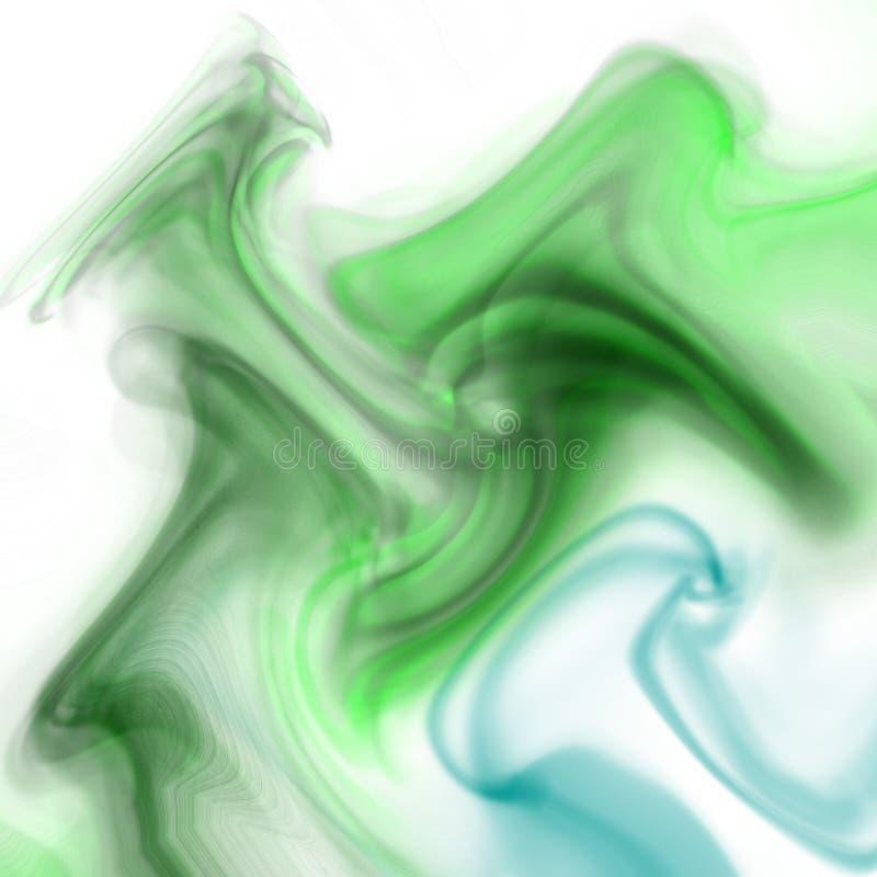 Ondas verdes del humo ilustración del vector
