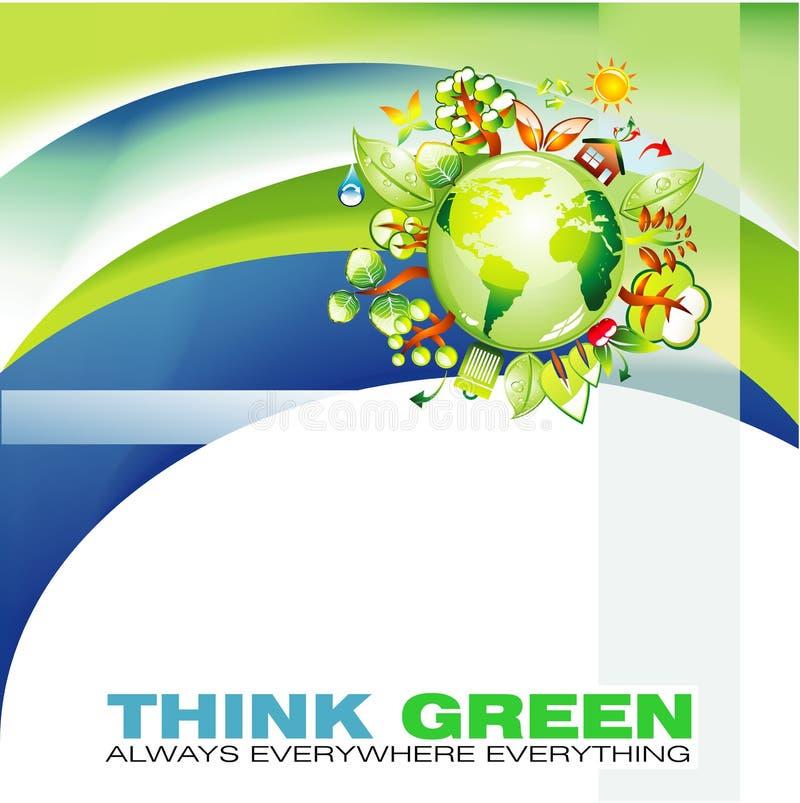 Ondas verdes e fundo abstrato do globo ilustração stock