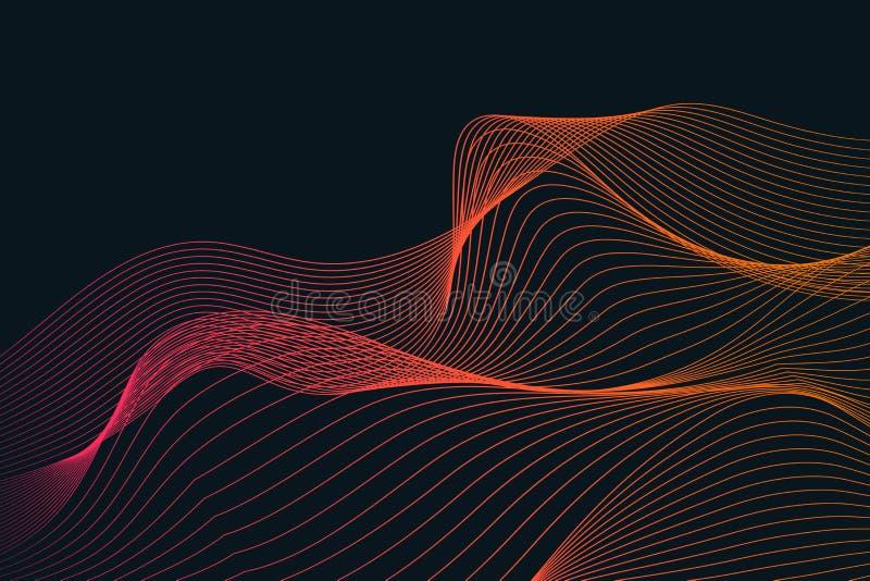 Ondas y líneas coloridas abstractas textura del fondo stock de ilustración