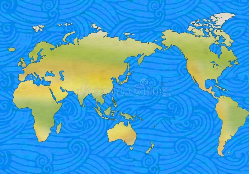 Ondas y mundo stock de ilustración