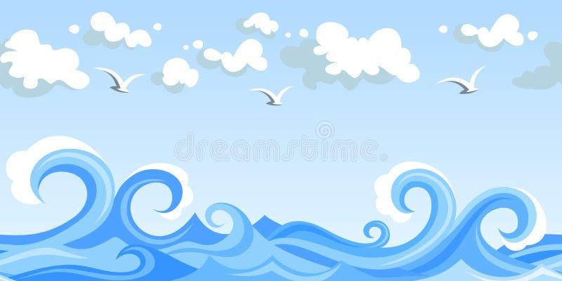 Ondas y nubes del mar. paisaje inconsútil horizontal. stock de ilustración
