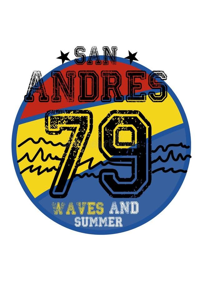 Ondas y verano de San Andres stock de ilustración