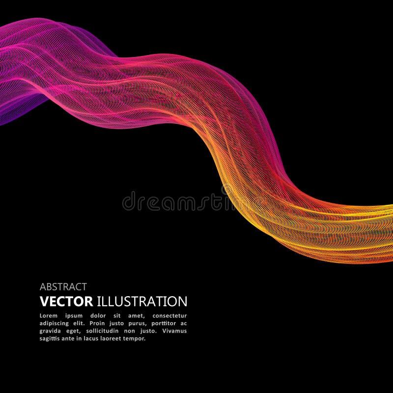 Onde abstraite colorée sur fond noir, lignes de mouvement arc-en-ciel Fusion de spectre vague abstraite illustration libre de droits