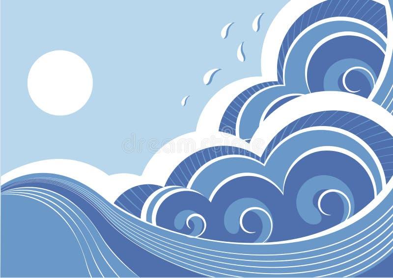 Onde astratte del mare. Vettore royalty illustrazione gratis