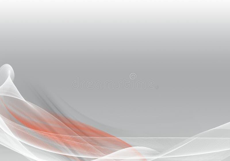 Onde astratte della priorità bassa Bianco, grey e rosso illustrazione vettoriale