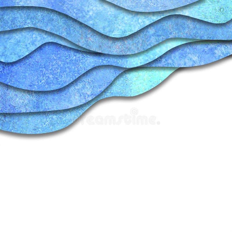 Onde blu del mare dell'alzavola dell'acquerello geometrico astratto su fondo bianco illustrazione di stock
