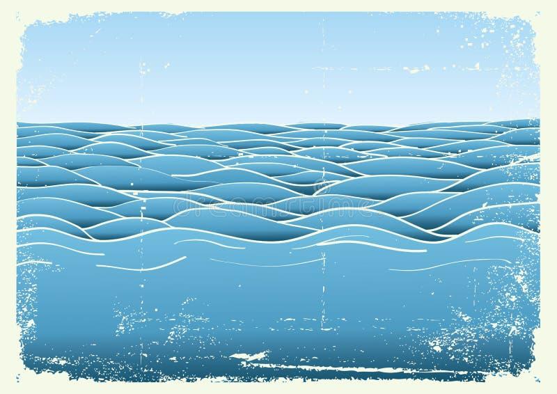 Onde blu. Immagine del grunge di vettore del mare illustrazione di stock