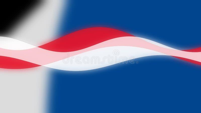 Onde, curve di colore bianco rosso blu sul tema il 4 della bandiera americana luglio fotografia stock libera da diritti