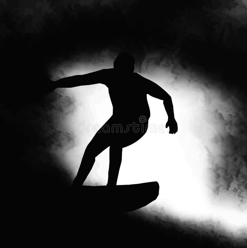 Onde d'équitation de surfer de silhouette illustration stock