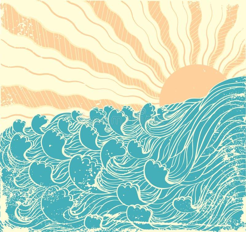 Onde del mare. Grunge illustrazione di stock
