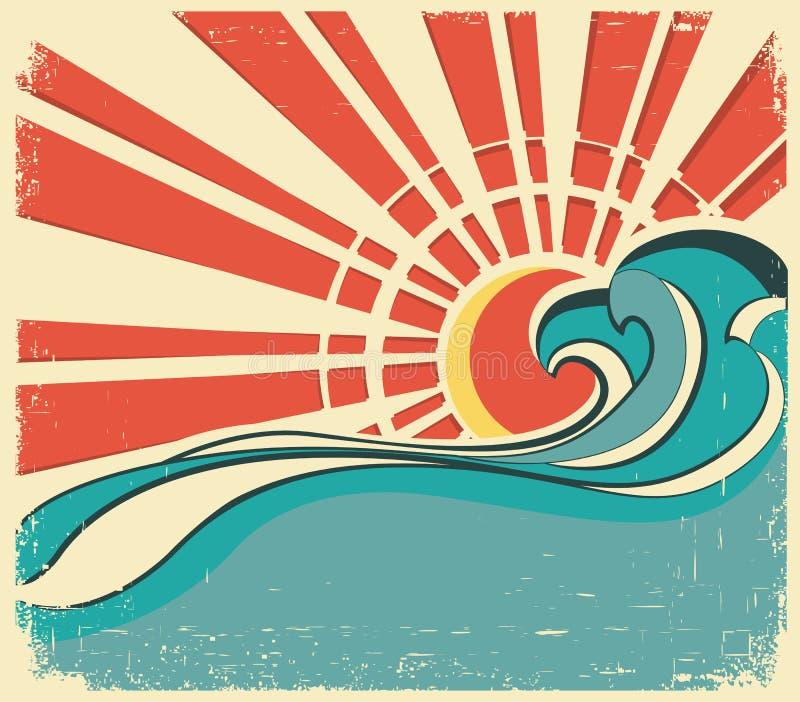 Onde del mare. Illustrazione dell'annata del manifesto della natura illustrazione di stock