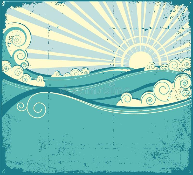 Onde del mare. Illustrazione dell'annata del paesaggio del mare illustrazione di stock