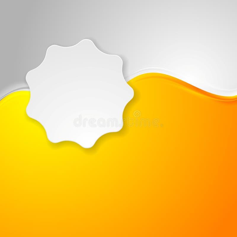 Onde dell'arancia ed autoadesivo luminosi dell'etichetta di bianco illustrazione di stock