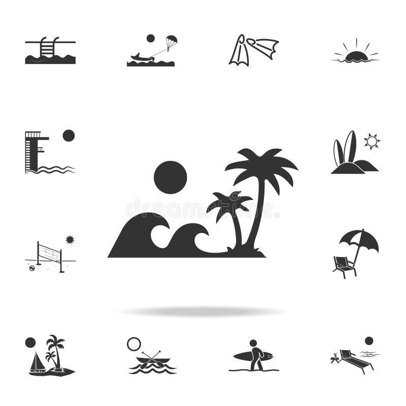 Onde dell'icona dell'isola delle palme Insieme dettagliato delle icone di feste della spiaggia Progettazione grafica di qualità p illustrazione di stock