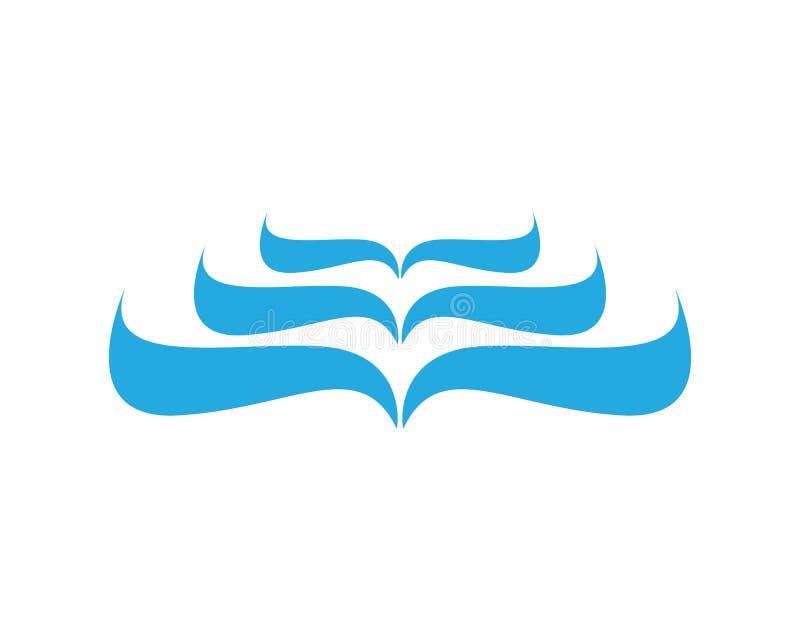 Onde delle onde di oceano o del mare, dell'acqua blu, della spruzzata e del vento fortissimo, vettore illustrazione di stock
