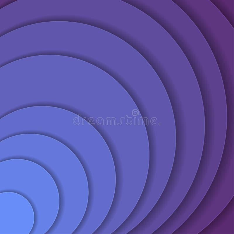 Onde di carta colorate, estratto, strati geometrici di struttura del fondo di profondità in tonalità della porpora del protone st illustrazione di stock