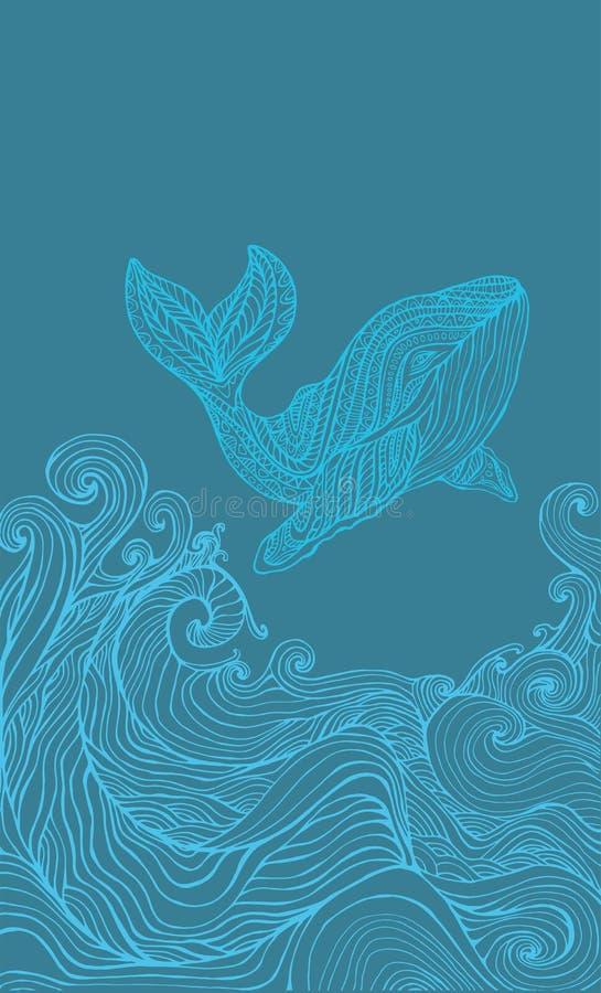 Onde di oceano e della balena, pagina blu monocromatica di coloritura royalty illustrazione gratis