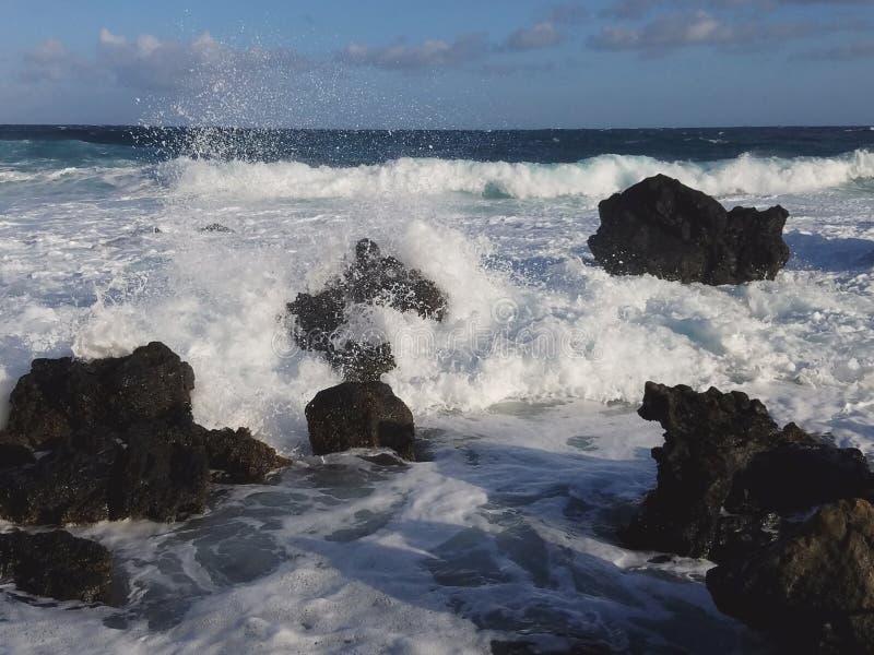 Onde di Pacifico - isole delle Hawai fotografie stock libere da diritti