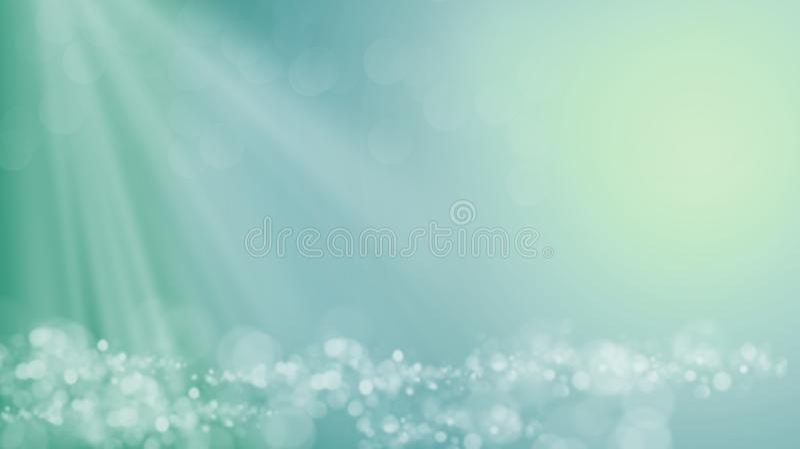 Onde di un mare o di un oceano immaginario nell'ambito dei raggi del sole luminoso illustrazione vettoriale