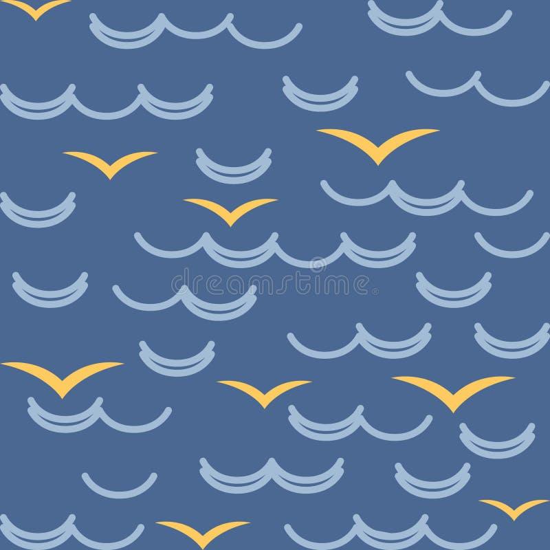 Onde e gabbiani nei colori blu seamless illustrazione di stock