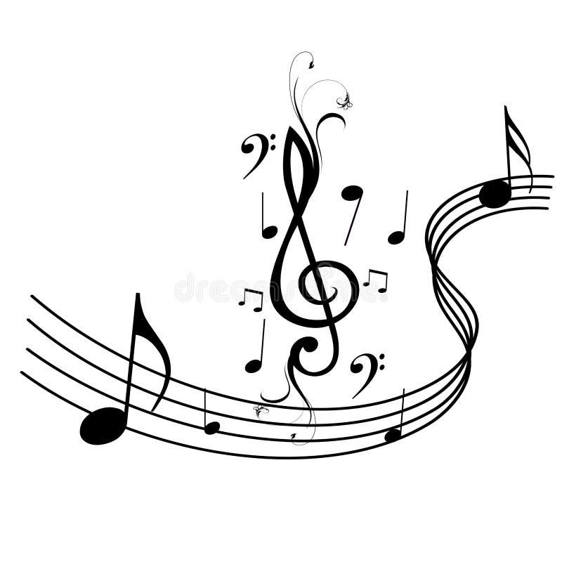 Onde e note di musica illustrazione di stock