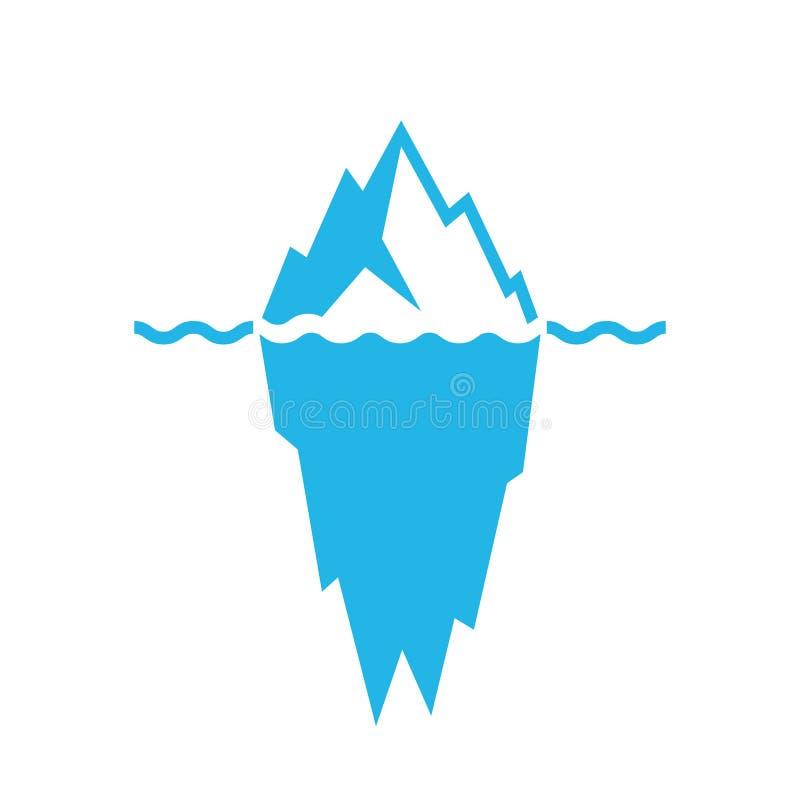 Onde ed icona di vettore dell'iceberg illustrazione vettoriale