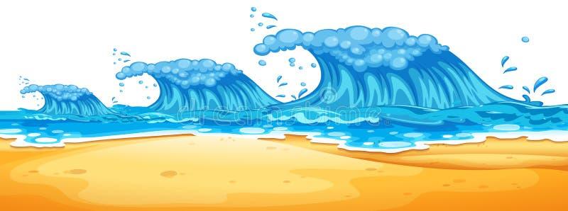 Onde enormi alla spiaggia illustrazione vettoriale