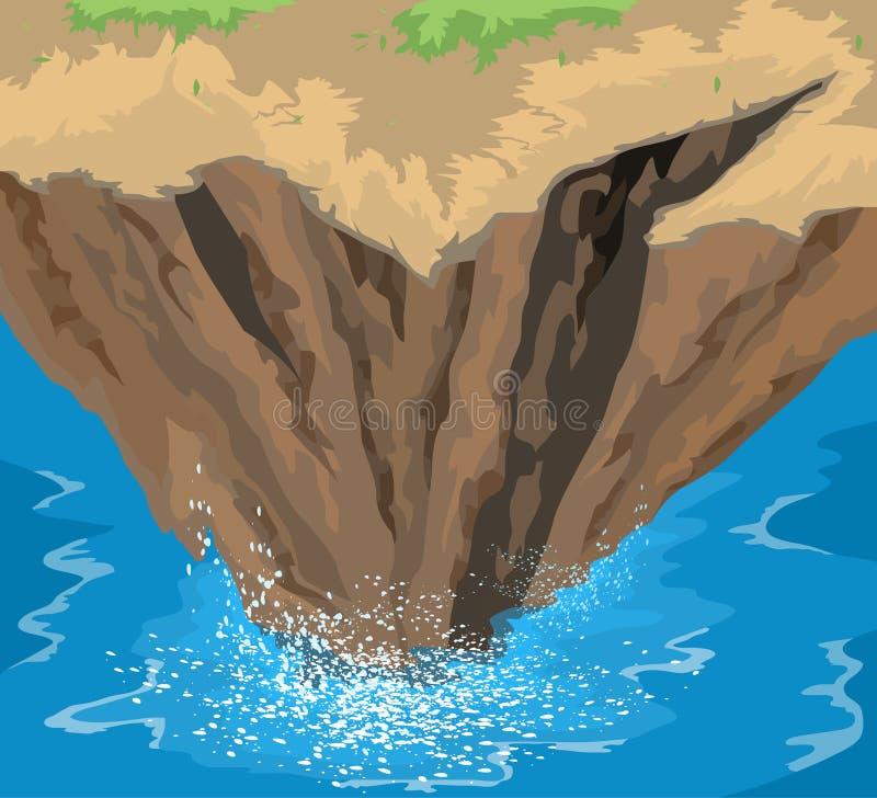 Onde enormi che si schiantano sulle rocce illustrazione vettoriale