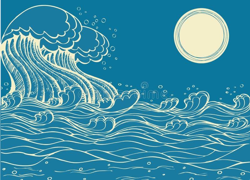 Onde enormi del mare. illustrazione vettoriale