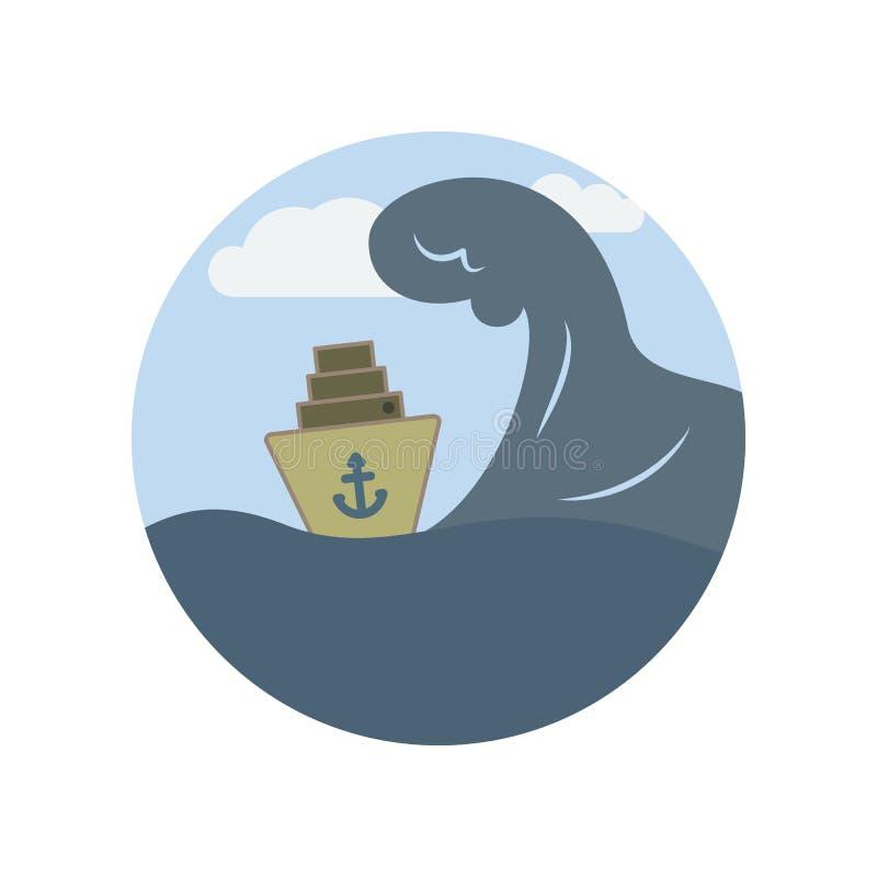 Onde, enormi, mare, nave, icona di colore dell'oceano Elemento dell'illustrazione di riscaldamento globale Icona premio di proget illustrazione di stock