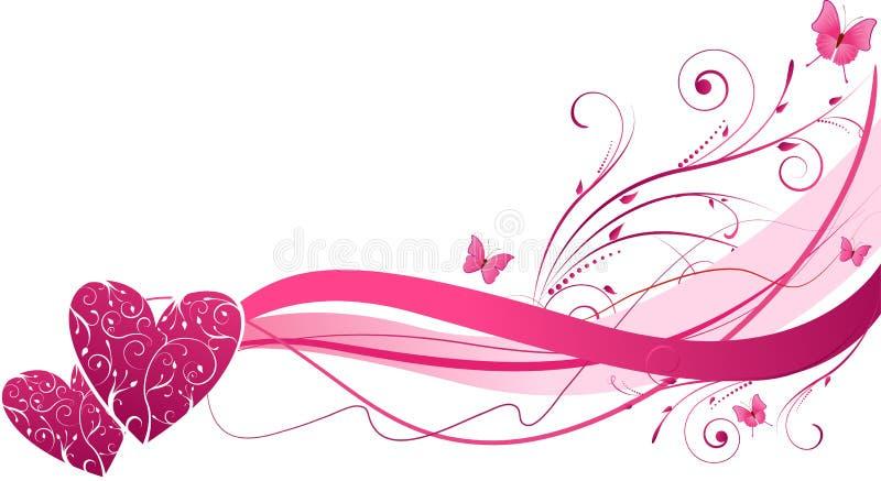 Onde florale avec des coeurs illustration stock