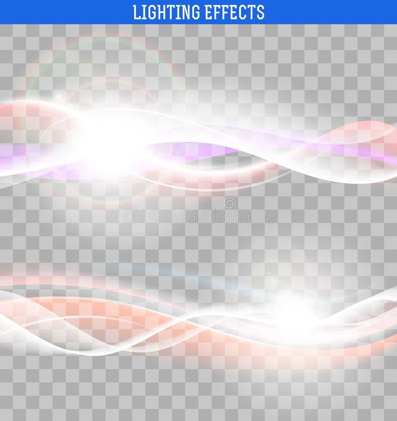 Onde luminose dell'estratto L'effetto dell'onda Elemento di disegno illustrazione vettoriale