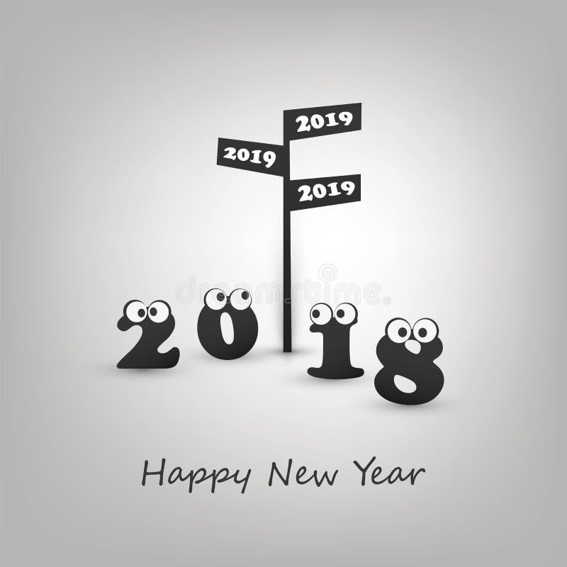 Onde nós vamos no próximo ano - sinal e numerais de estrada com olhos do rolamento - modernos abstratos denominam o cartão engraç ilustração do vetor