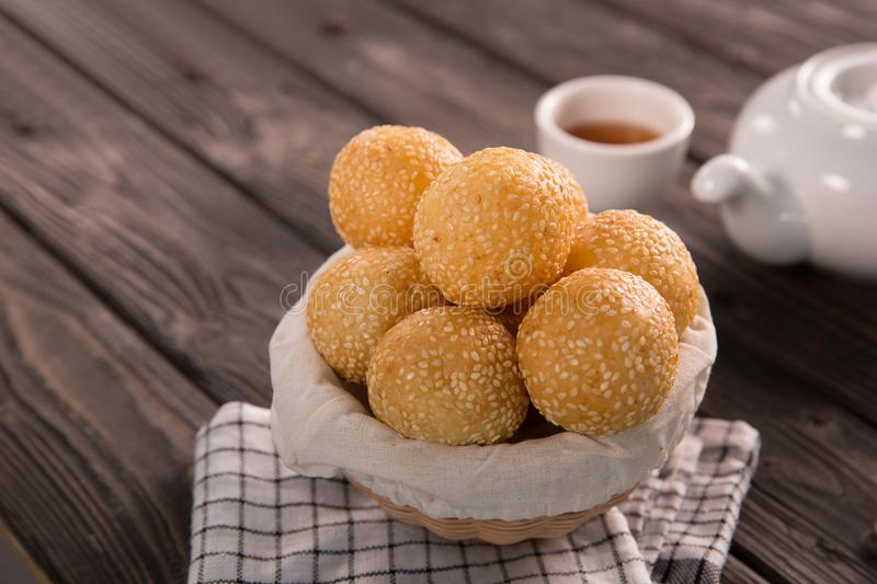 Onde-onde. indonesian traditional street food. Glutinous rice flour and stuffed inside a green bean paste with sesame seeds royalty free stock photos