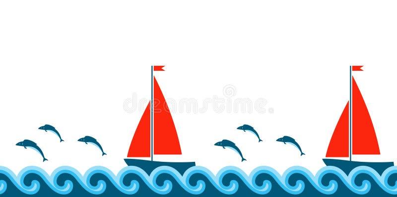 Onde, pesci e bordo delle barche a vela illustrazione vettoriale