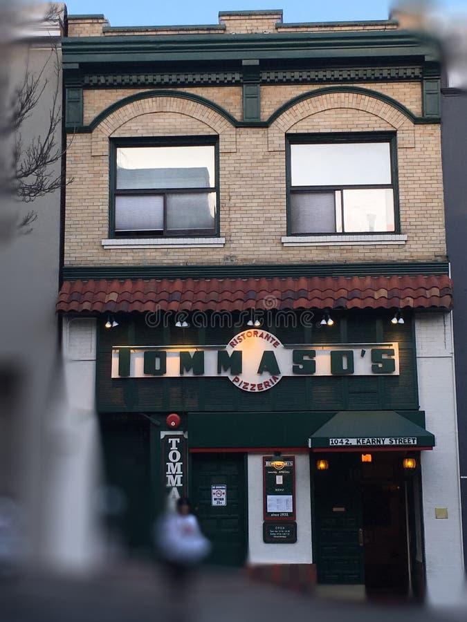Onde a pizza foi servida primeiramente na costa oeste foto de stock royalty free