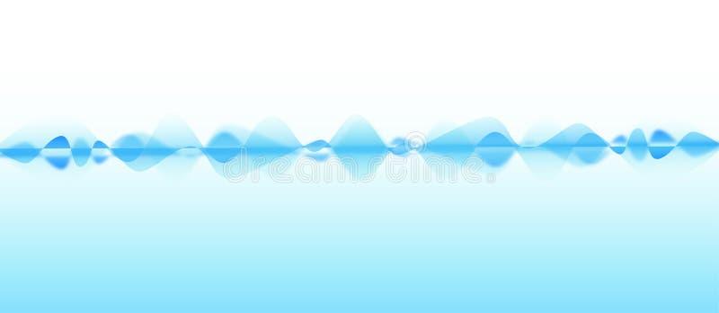 Onde radio blu dell'estratto nel fondo blu-chiaro illustrazione vettoriale