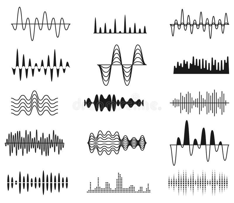 Onde sane di ampiezza Simboli del segnale radio Audio equalizzatore di musica, insieme di vettore di onda di voce isolato illustrazione vettoriale