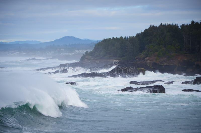 Onde schiaccianti sulla costa dell'Oregon immagine stock libera da diritti